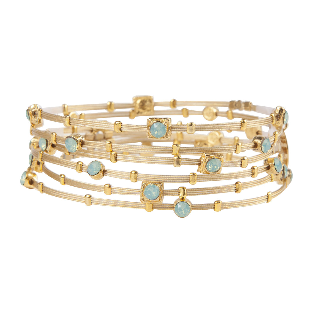 Shades of Opal Turquoise Crystal Gold Bracelet - Set of 6