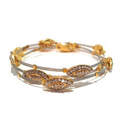 Shades of Oval Crystal Silver Bracelet w/Gold - Set of 3