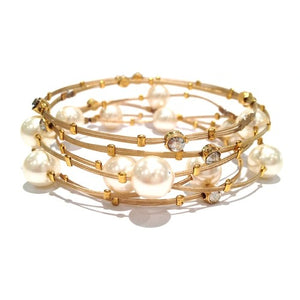 Shades of Pearl and Crystal Bracelet - Set of 6