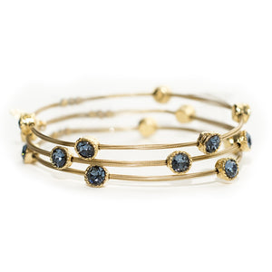 Shades of Denim Blue Crystal Gold Bracelet - Set of 3