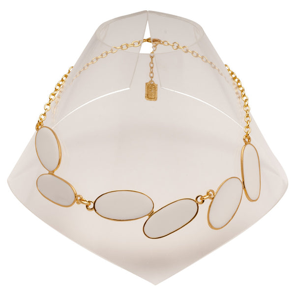 White Oval Enamel Necklace with Gold