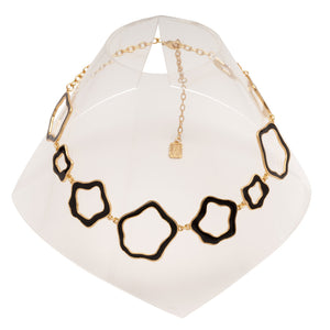 Black Cut-Out Patterns Gold Necklace