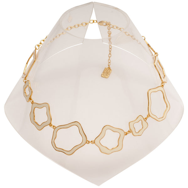Gold Necklace with Cream Cut-Outs