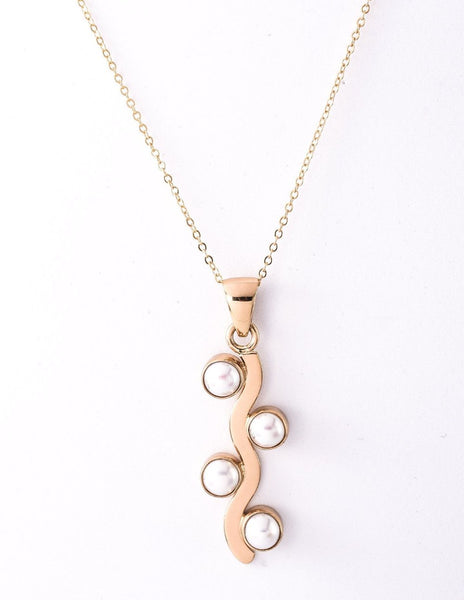 Alchemia Pearl Wave Pendant Necklace