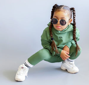little mixed race girl plaits kids boys juniors swag cool dope hoody streetwear Oversized Hoodie & Tapered Skinny Joggers in Jungle - KULTKID