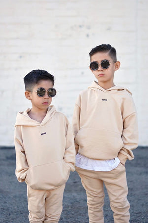 vanilla cream oversized hooded tracksuit for kids and children