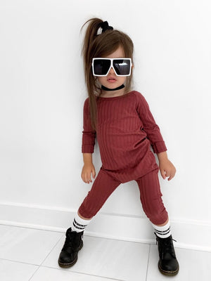 burgundy off shoulder jumpsuit for little girls