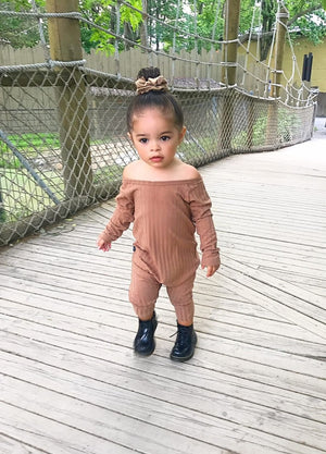 cutest ribbed jumpsuit for little girls, infants and toddlers.