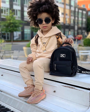 kids infants juniors fashion stylish trendy  black school logo strap backpack bag