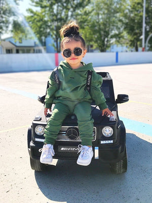 cool oversized khaki green tracksuit for little baby girls