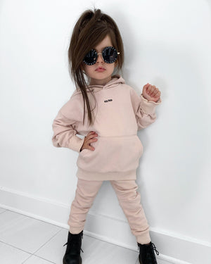 Dusty light pink oversized tracksuits for kids and small children