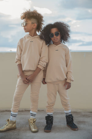 yeezy style cream beige oversized hooded tracksuit for kids and children