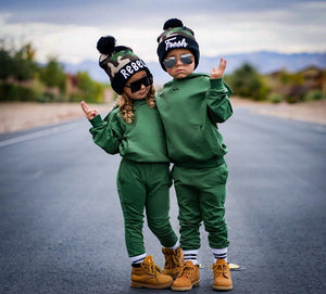 matching khaki green tracksuit for boys and girls