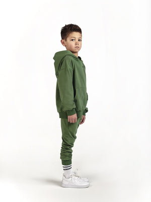 designer luxury hoodie and jogger co ord set for kids and children in khaki green