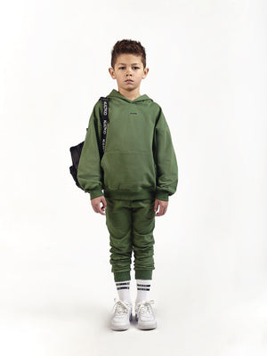little kids boys juniors swag cool dope hoody streetwear Oversized Hoodie & Tapered Skinny Joggers in Jungle - KULTKID green