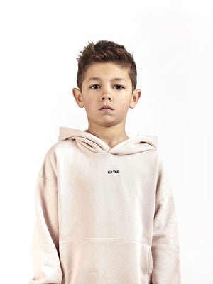 Designer luxury hoodie and jogger co ord set for kids and children in dusty light pink