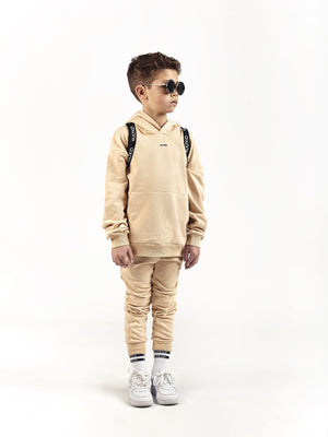 cream beige oversized hooded tracksuit for kids and children