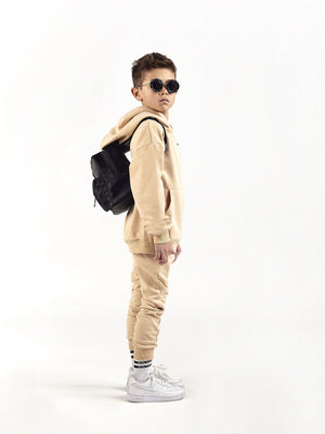 sand beige oversized hooded tracksuit for kids and children