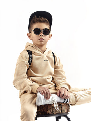 cream beige oversized hooded tracksuit for little boys and girls