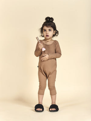 Tan ribbed streetwear jumpsuit for little girls