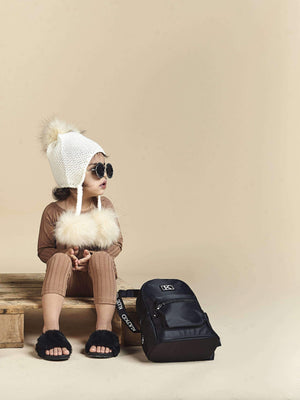 Fur Pom-Pom Hat in Ivory-KULTKID