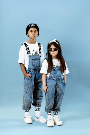 Kids unisex mid blue denim dungarees for boys and girl