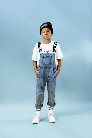 Kids unisex mid wash blue denim dungarees for boys and girl