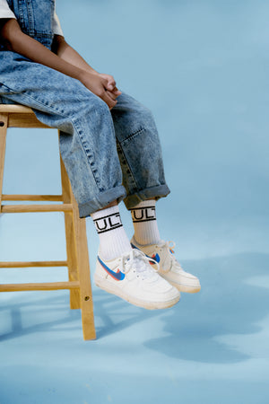 boys stylish white logo crew socks