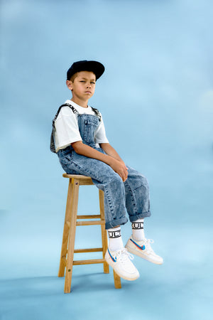 white logo detail crew socks for little boys