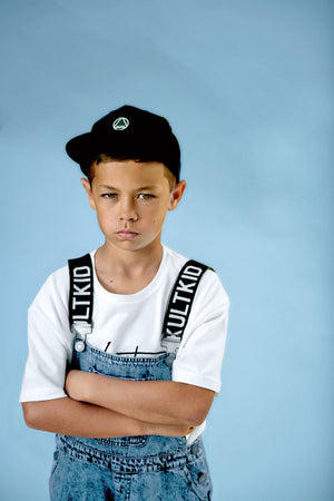 little boys black geometric logo snapback cap