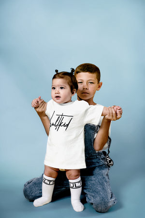 Oversized signature logo tshirt in white for little newborn baby and infants.