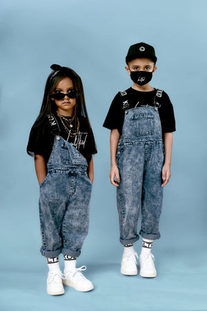 kids boys girls cool stylish trendy logo strap mid wash dungarees utility overalls