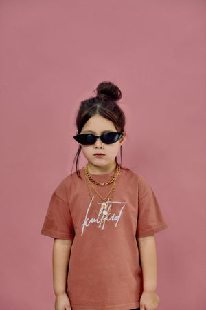 Ultra-oversized Kult Signature Logo T-shirt in Burnt Blush