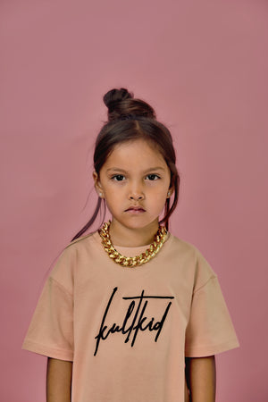 Kids streetwear clothing with big chunky chain gold necklace for little girls