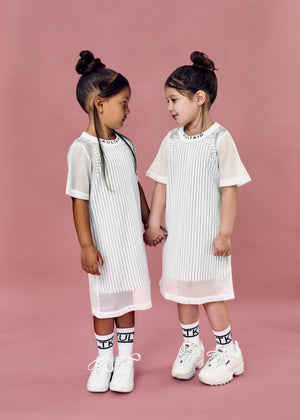Oversized mesh tshirt dress for little girls