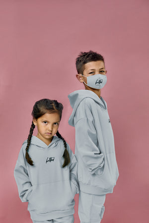 Coolest oversized hoodie and jogger set in blue grey for little kids and juniors