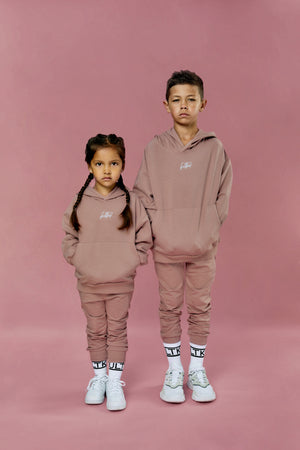 dusty pink streetwear tracksuit for little boys and girls