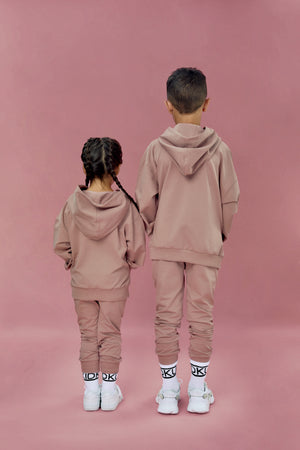 dusty pink oversized hoodie and jogger co-ord set for little girls and boys