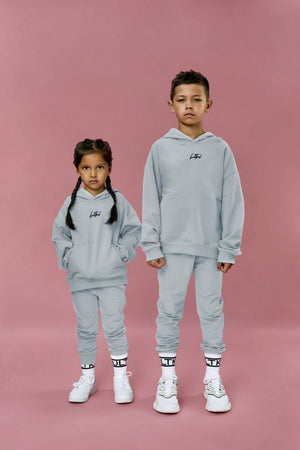 Most fashionable grey blue oversized tracksuit for little boys and girls