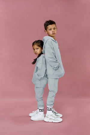 Best trendy sweatsuit in grey blue for little girls and boys