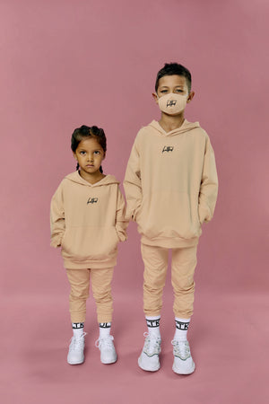 oversized streetwear hoodie and joggers for young kids and children in sand beige