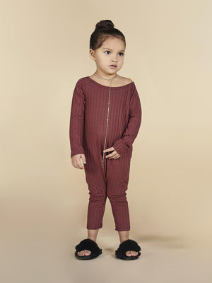 Ribbed Off Shoulder Jumpsuit in Burgundy-KULTKID