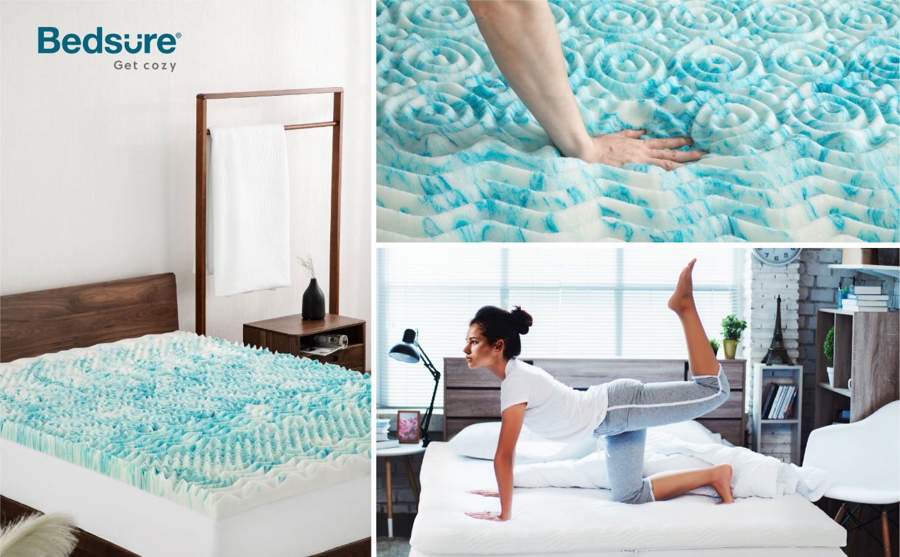Bedsure Mattress Topper cover features a 38-centimeter skirt with elastic sides and a women lay on it.