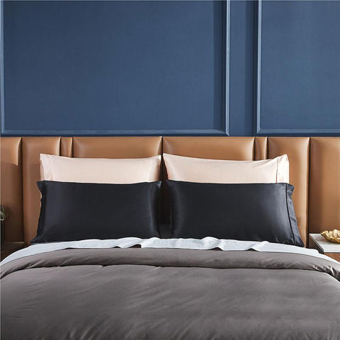 Champaign and black silk Bedsure pillowcases