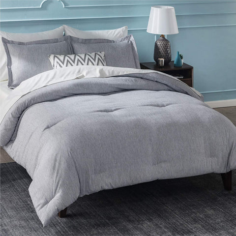 Gray Cationic Dyeing Bedsure Comforter Set on bed in bedroom