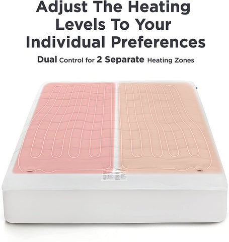 Bedsure heated mattress pad showing dual heating function with different temperatures on each side