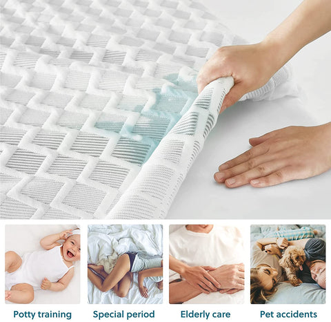 Person lifting up stained Bedsure mattress pad with geometric pattern to show protected mattress