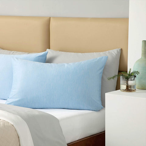 Cooling pillowcases on pillows on comfortable double bed / Cooling Pillowcases from Bedsure