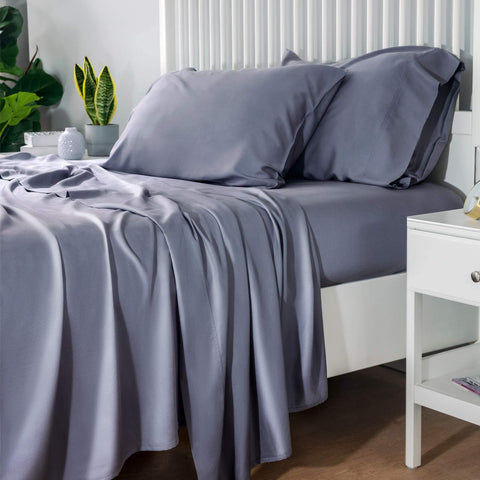 Cooling Bamboo Sheet / Gray sheets on bed in bedroom / Bamboo Cooling Bedsheet Set from Bedsure
