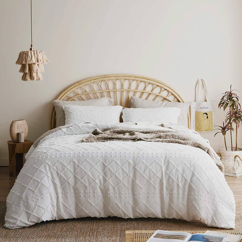 Bedsure Tufted Duvet Cover on bed in bedroom